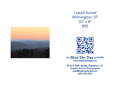 "Liquid Sunset :: Wilmington, VT :: 10"" X 8"" :: $95"